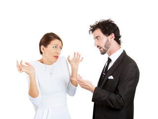 Arguing young couple going through hard times in relationship