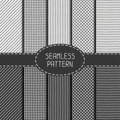 Set of  vector abstract seamless pattern of hand drawn lines
