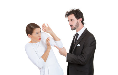 Woman victim of domestic violence, abuse man about to beat wife