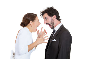 Young man woman, couple screaming at each other, blaming
