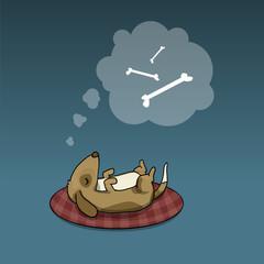 Cute dog, sleeping, dreaming about tasty bones