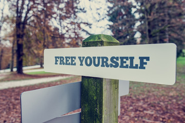 Rustic signboard outdoors in an autumn park with words Free your