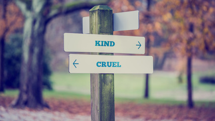 arrows pointing two opposite directions towards Kind and Cruel