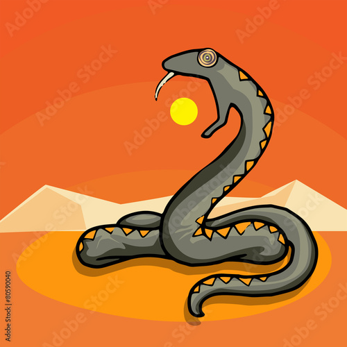 Foto op Plexiglas Draken Giant snake in the dessert, eating the sun