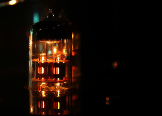 Valve Amplifier close up with copyspace