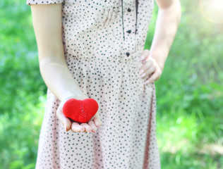 love young girl heart in hand vintage photo retro style