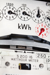 Electric meter close-up and kWh symbol