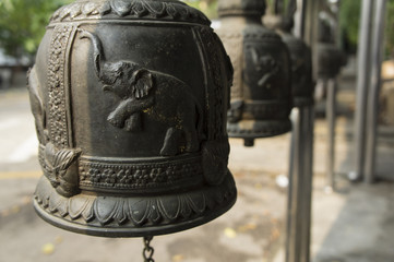 bell engraves elephant temple iron metal concept