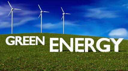 wind generators on meadow - green energy concept