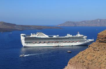 Сruise liner. Cyclades, Santorini, Greece