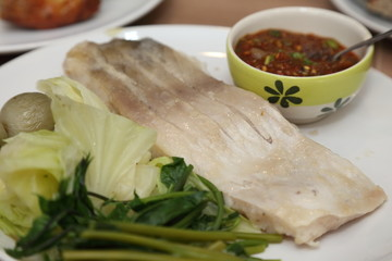 steamed fish in a plate