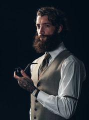 Handsome vintage man with a bushy beard