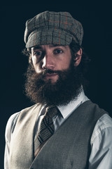 Attractive bearded man in vintage fashion