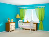 Fototapety baby room cradle