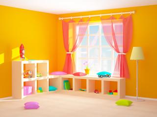 baby room with floor shelves