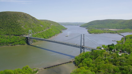 Aerial view of Bridge spanning the Hudson River