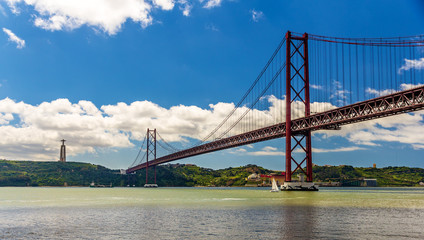 View of the 25 de Abril Bridge - Lisbon, Portugal
