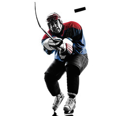 Ice hockey man player silhouette