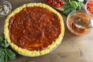 Polenta Pizza Crust with Sauce