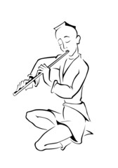 Boy playing a flute. Vector silhouette