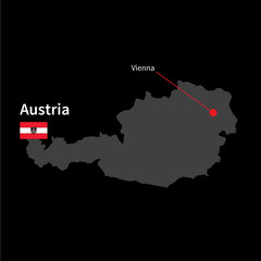 Detailed map of Austria and capital city Vienna with flag on