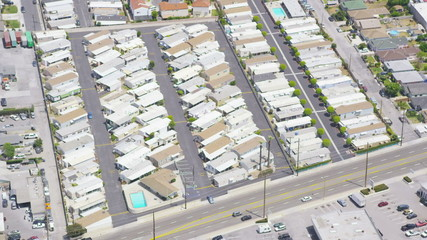 Aerial view of Californian trailer park