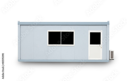 Container office with door and window , isolated on white backgr - 80595098