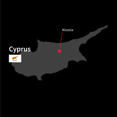 Detailed map of Cyprus and capital city Nicosia with flag on