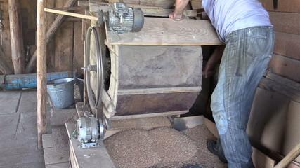 Farmer man turn handle of sifting equipment tool and sift grain