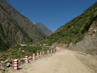 New road from Nepal to China, little village Rasuwagarhi