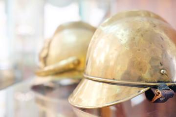 Closeup old helmet for fireman