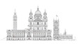 London, sketch illustration. Big Ben, Parliament, st. Paul cathe - 80596845