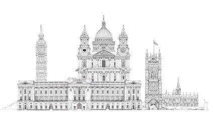 London, sketch illustration. Big Ben, Parliament, st. Paul cathe