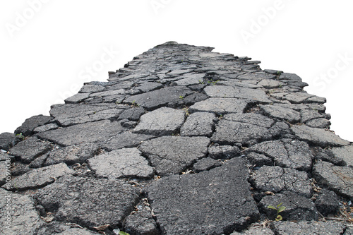 asphalt road with cracks, isolated on white background. - 80597008
