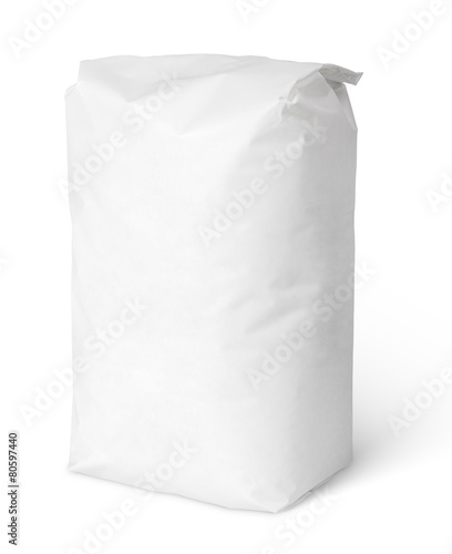 Leinwanddruck Bild Blank paper bag package of salt isolated on white