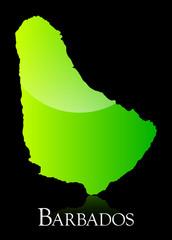 Barbados green shiny map