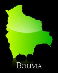 Bolivia green shiny map