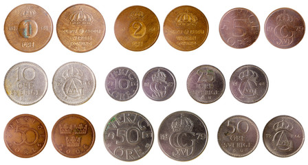 different old swedish coins
