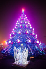 City Christmas tree with the evening lights
