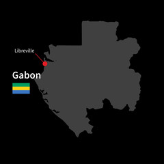 Detailed map of Gabon and capital city Libreville with flag on