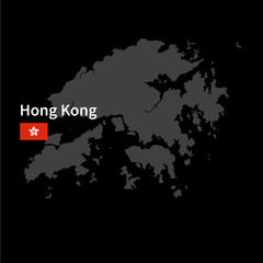 Detailed map of Hong Kong with flag on black background