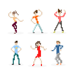 Pixel Art Party Dancing People Set