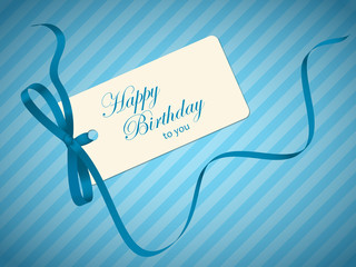 HAPPY BIRTHDAY gift tag (blue father's day ribbon)