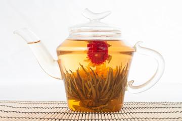 Teapot with green tea