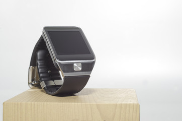 Black Smart watch on box