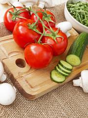 cucumbers, tomatoes, mushrooms and arugula