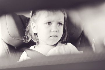 sad girl in car