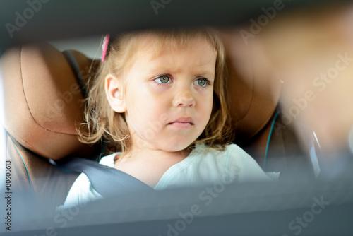 sad girl in car
