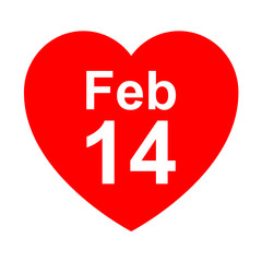 Icono texto Feb 14 en corazon
