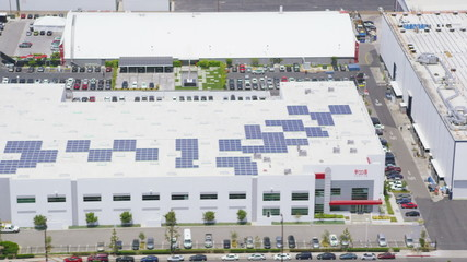 Aerial view of solar panels on warehouses